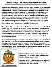 Free Pumpkin Sunday School Lessons For Kids- Children's ...