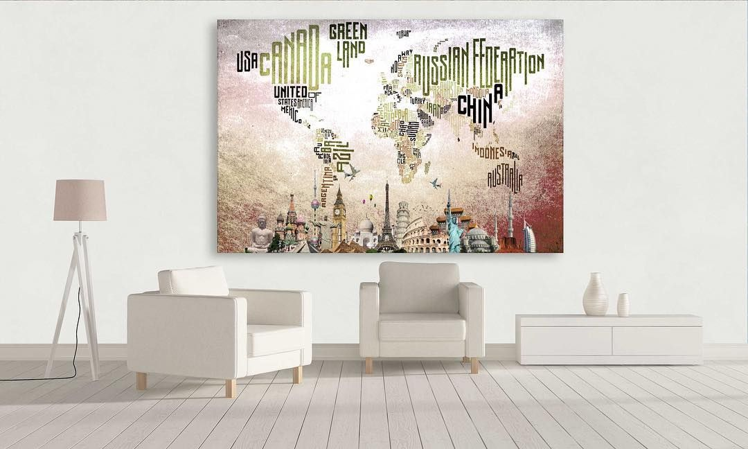 Unique world map multi panel canvas wall art decor premium quality unique world map multi panel canvas wall art decor premium quality canvas archival ink no color gumiabroncs