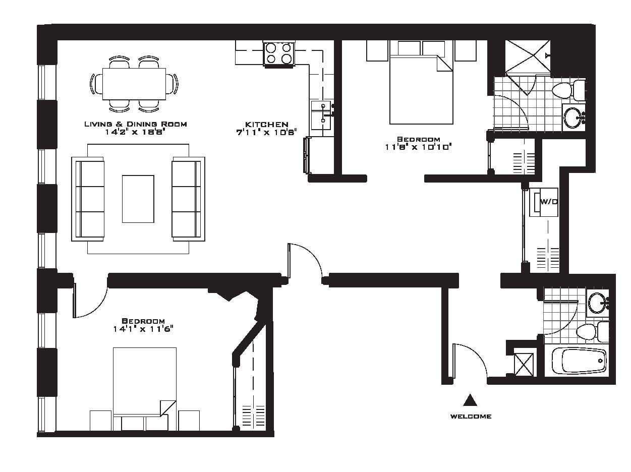 Exquisite luxury 2 bedroom apartment floor plans on for Two bedroom two bath apartment floor plans
