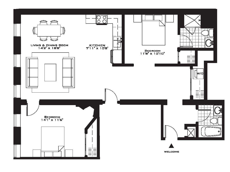 Exquisite Luxury 2 Bedroom Apartment Floor Plans On