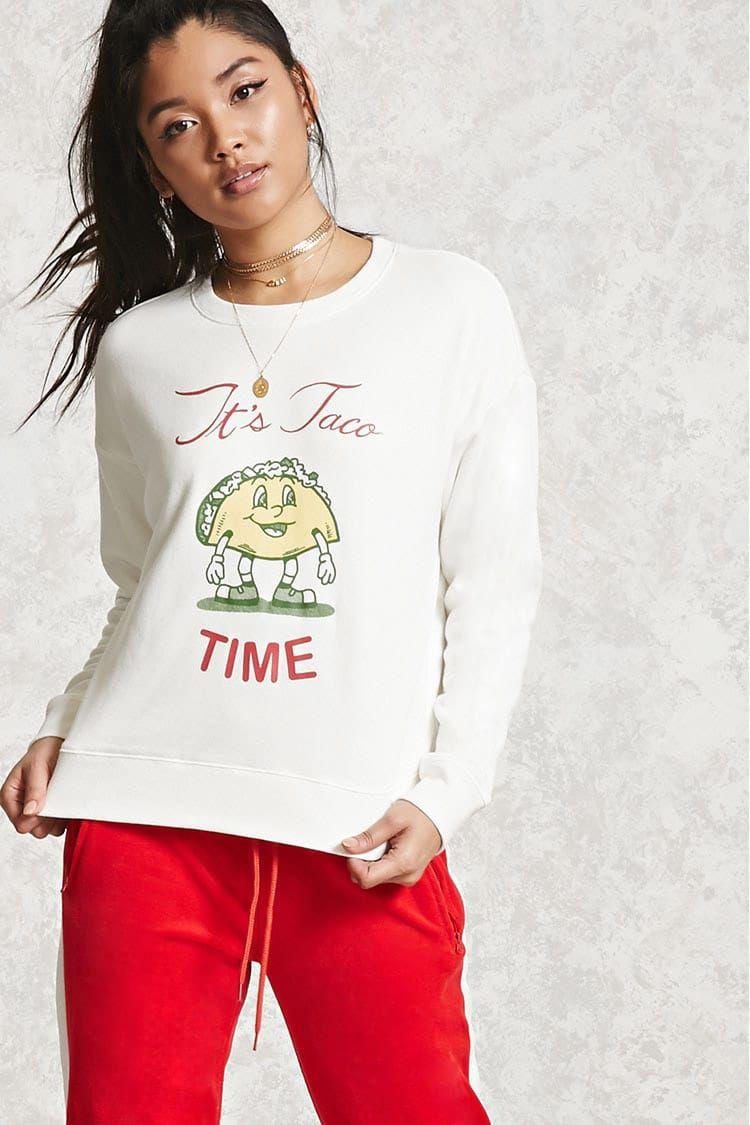 It S Taco Time Sweatshirt Forever21 Sweatshirts Cute Sweatshirts Fashion [ 1125 x 750 Pixel ]