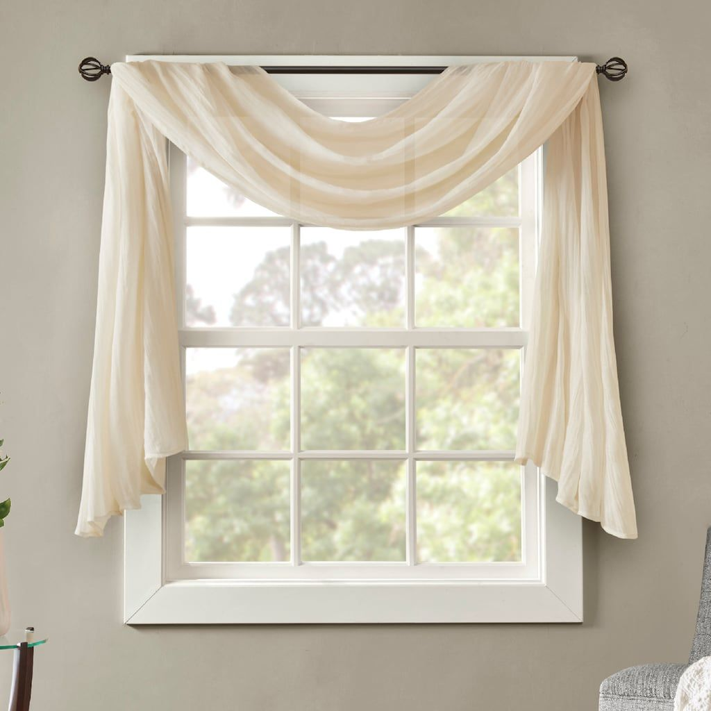 Window coverings types  madison park kaylee solid crushed sheer scarf window valance