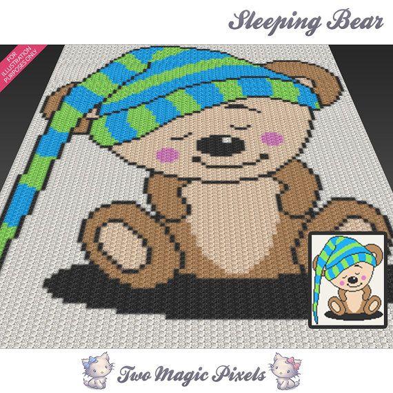 Sleeping Bear c2c graph crochet pattern; instant PDF download; baby ...