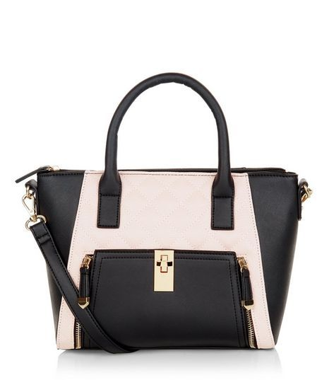 Pink Colour Block Zip Pocket Structured Bag  6bc3d8d35183e