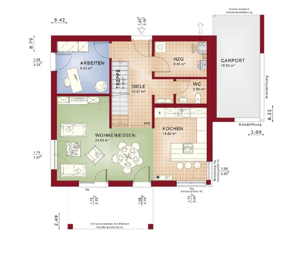 grundriss einfamilienhaus mit pultdach haus evolution. Black Bedroom Furniture Sets. Home Design Ideas