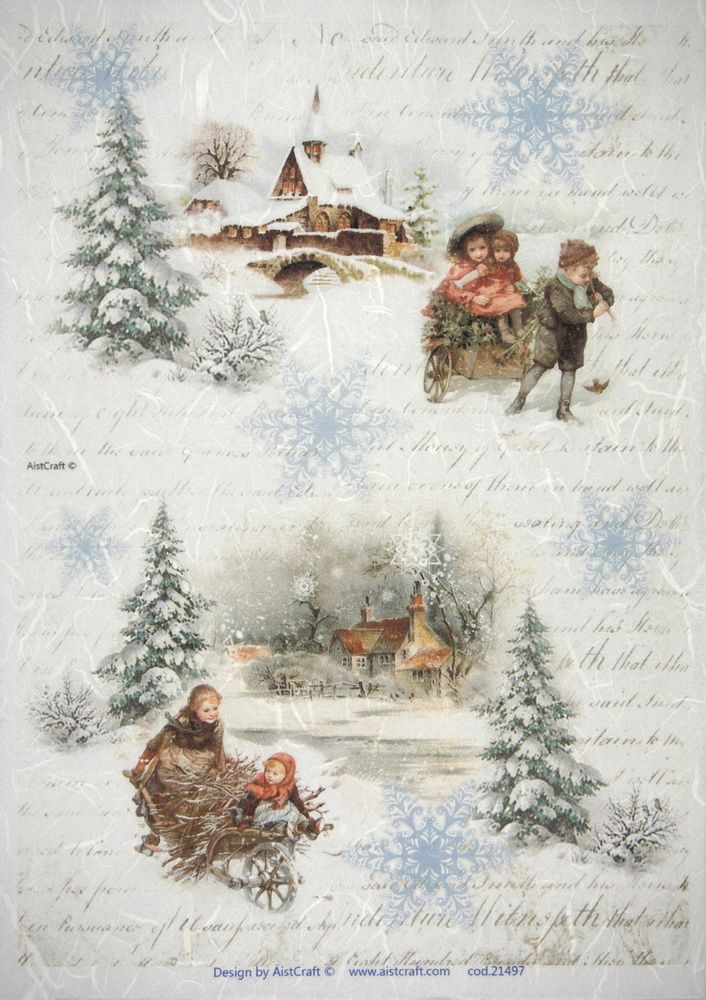 Rice Paper for Decoupage Scrapbook Sheet Winter Forest with  Foxes