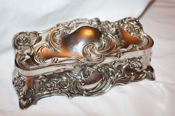 Art Deco Silver Ormolu Jewelry Box Casket Victorian 1920s Vanity