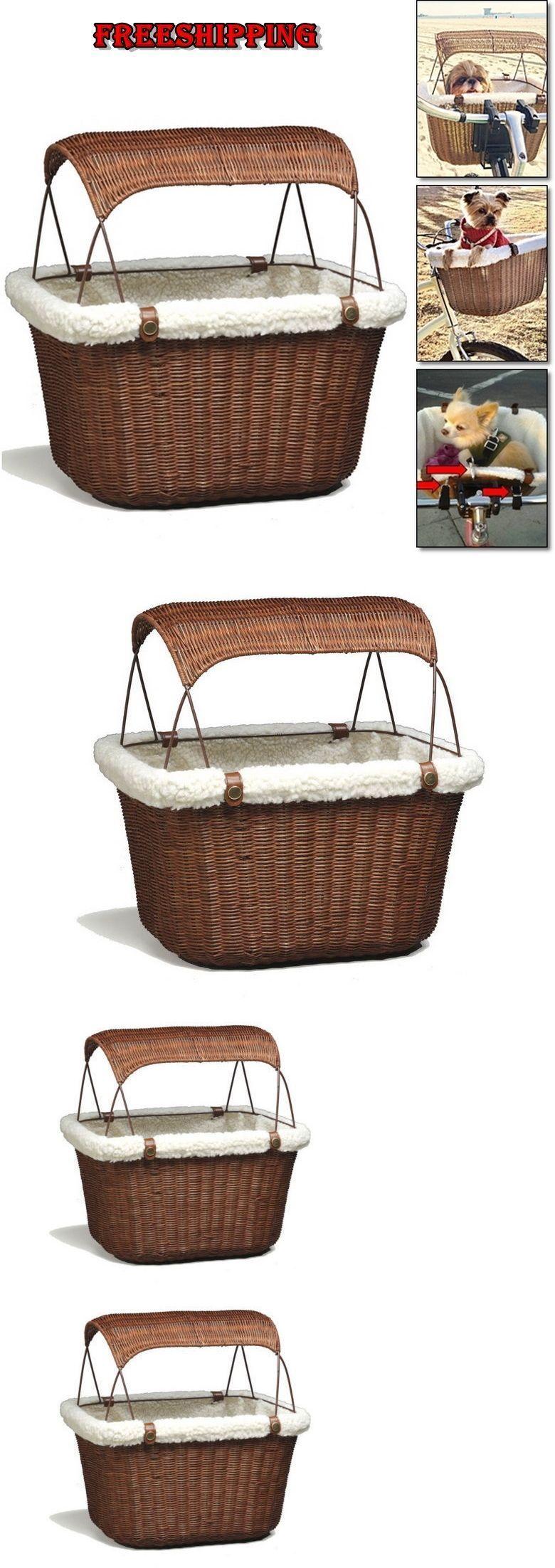 Bike baskets and trailers pets wicker rattan storage bike