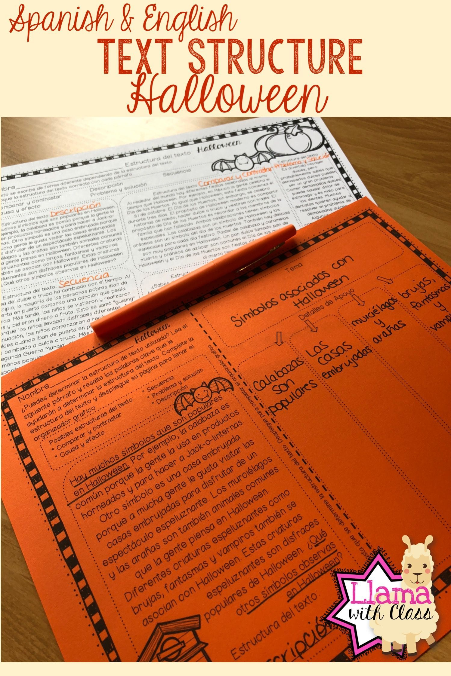 Halloween Text Structure Practice In English Spanish Ela Lesson Plans Guided Reading Lessons Text Structure Worksheets [ 2249 x 1499 Pixel ]