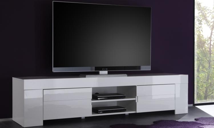 Fano Long Tv Unit Gloss White Finish Media