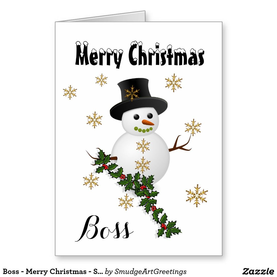 Boss - Merry Christmas - Snowman/Holly Greeting Card | Zazzle ...