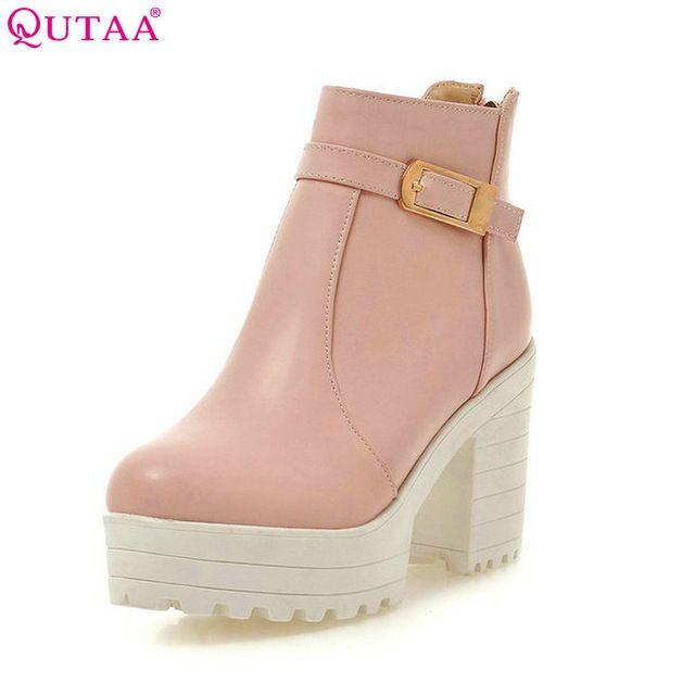 beb9fec7b Fair price QUTAA 2017 Pink Shoes Woman PU leather Square High Heel Ankle  Boots Zipper Women