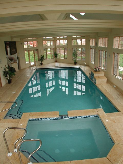 Gunite Indoor Pool With Spa Auto Cover Indoor Swimming Pool Design Luxury Swimming Pools Indoor Pool House