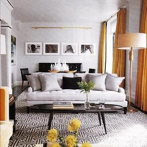 Elle Decor - living rooms - black, white, geometric, rug, gray ...