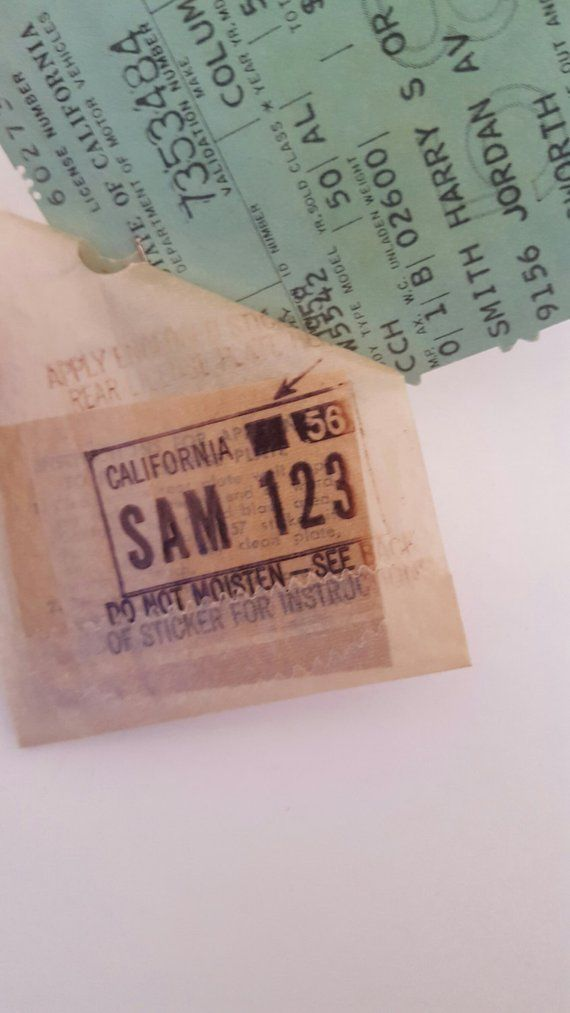Vintage New Old Stock 1958 California license plate tag and
