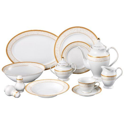 Lorren Home Trends Venice 49 Piece Porcelain Dinnerware Set Service For 8