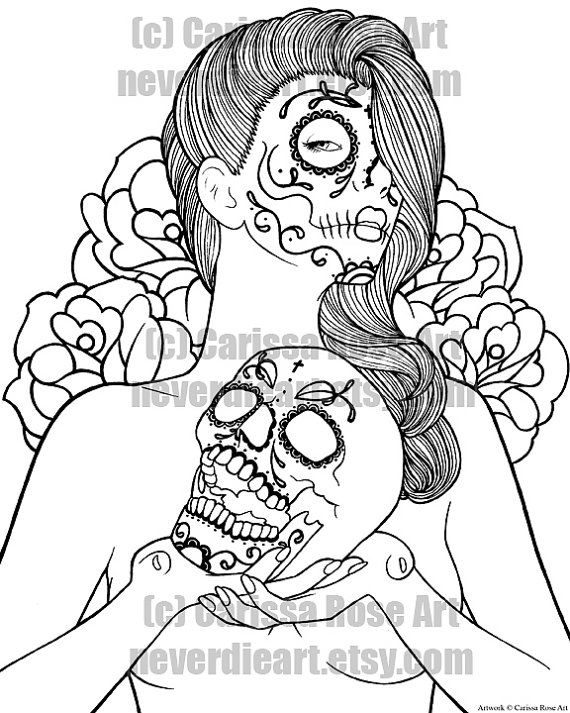 digital download print your own coloring book outline page ... - Coloring Pages Roses Skulls