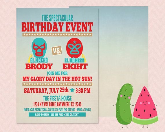 A great start to a Lucha Libre party - fresh birthday invitation jokes