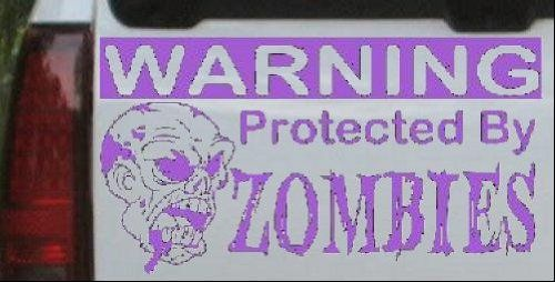 6in X 11.1in Purple -- Protected By Zombies Funny Car Window Wall Laptop Decal Sticker @ niftywarehouse.com #NiftyWarehouse #Zombie #Horror #Zombies #Halloween