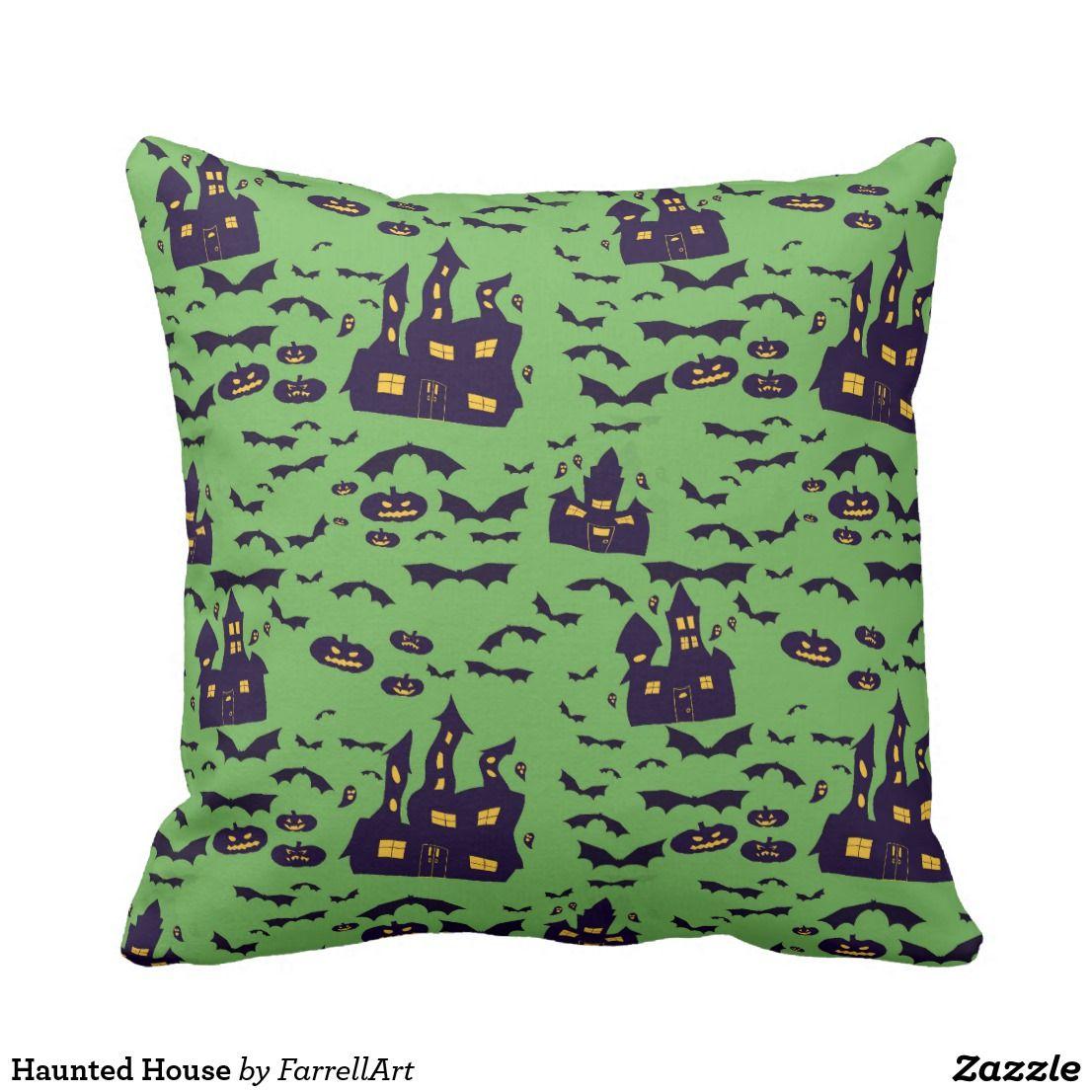 Haunted House Throw Pillow Throw pillows