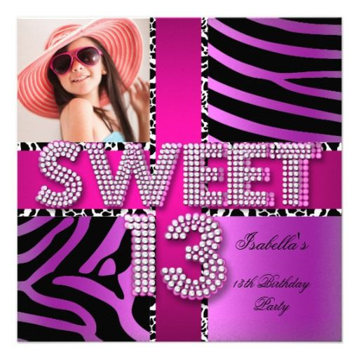 Fun Name Invite Typographic Girls Double Sided Tween Birthday Party Invitation 7th 8h 9th 10th 11th 12th 13th 14th 15th 16th