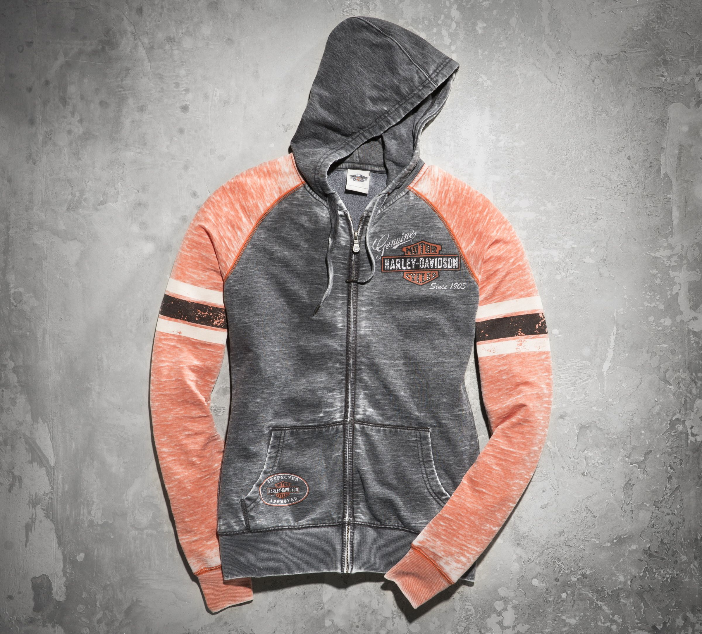 Embellish yourself. | Harley-Davidson Women's Genuine Oil Can Burnout Hoodie