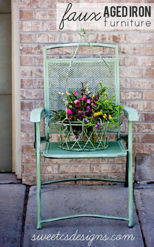 faux paint your own aged iron furniture! This is an
