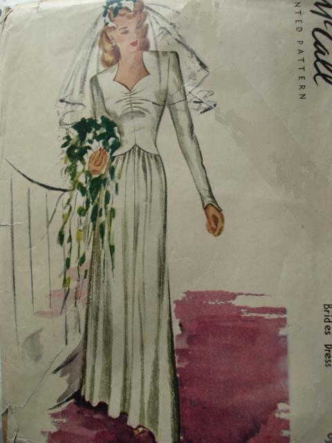 1940s WAR TIME WW II BRIDAL GOWN WEDDING DRESS PATTERN McCALL 5853 ...