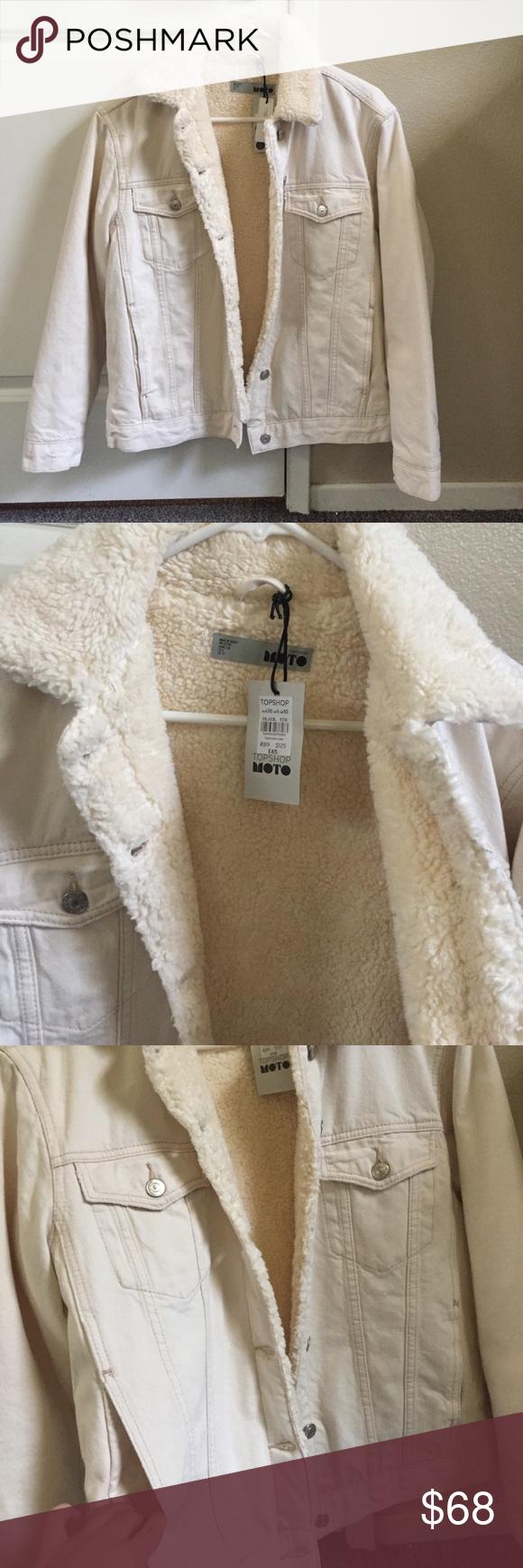Moto Sherpa Lined Cream Denim Jacket NWT