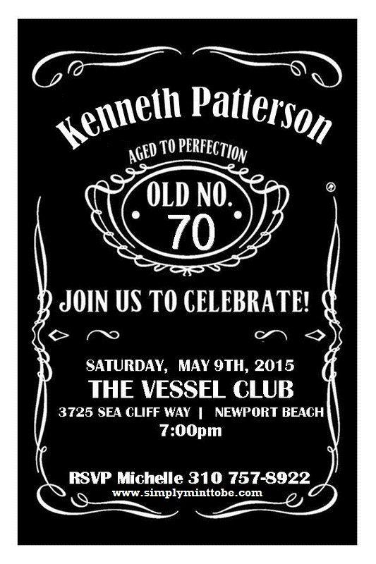 DIY Jack Daniels Inspired 70th Birthday Celebration Invitations