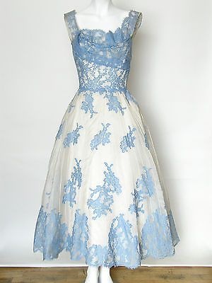 c 1950s Vintage Ceil Chapman Lace Silk Party Cocktail Dress Full Skirt XS Lovely