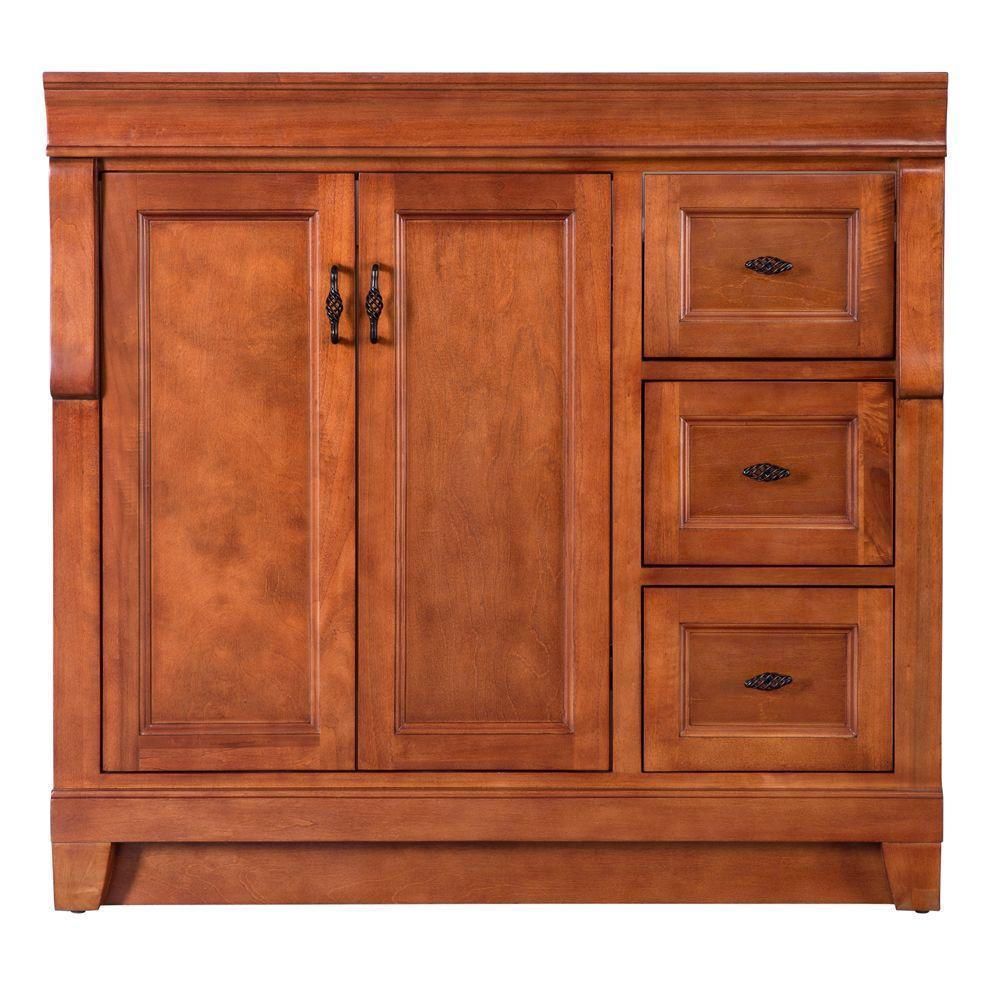 Home Decorators Collection Naples 36 In W Bath Vanity Cabinet Only In Warm Cinnamon With Right Hand Drawers Naca3621d The Home Depot Vanity Cabinet Bathroom Vanities Without Tops Home Decorators Collection