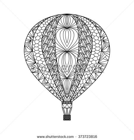 Hot Air Balloon Adult Coloring Pages Intricate Air balloon Hand