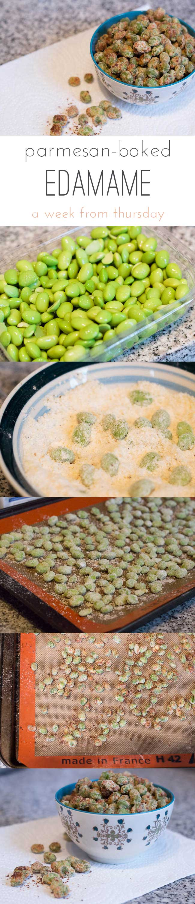 Parmesan-baked edamame, a high-protein snack! - A Week From Thursday