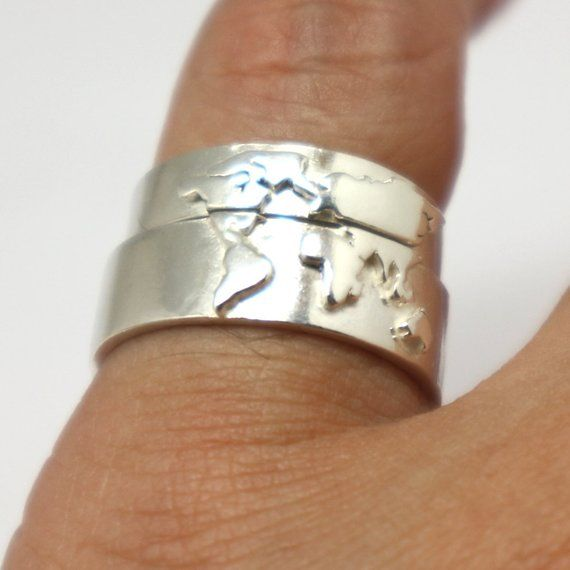 Silver World Map Couple Ring Set His And Her Matching Promise