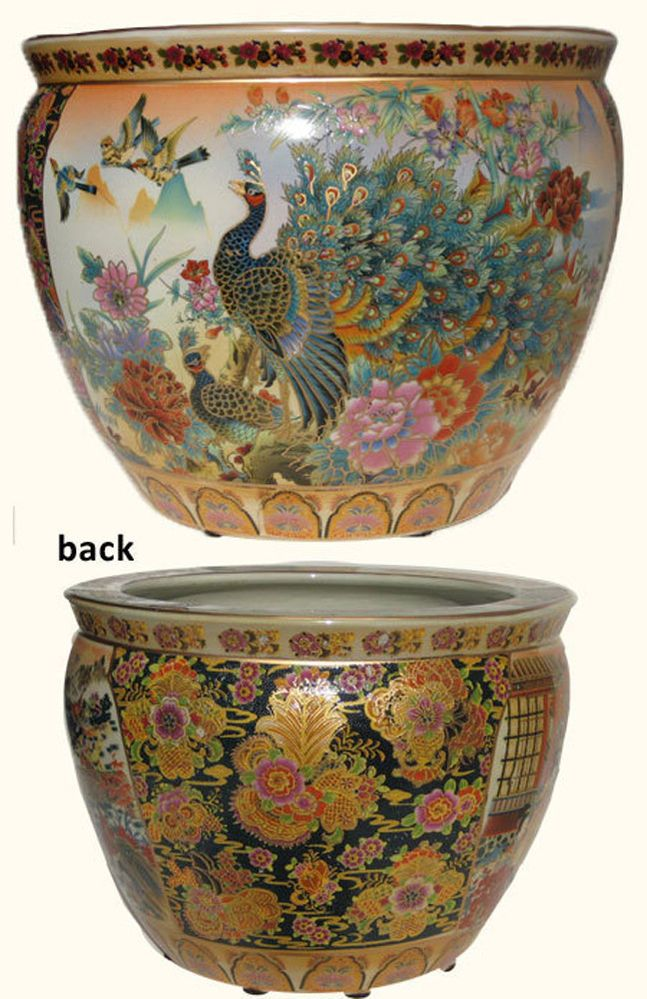 Satsuma Porcelain Fish Bowl Planter With Peacock 12 Inches Diameter