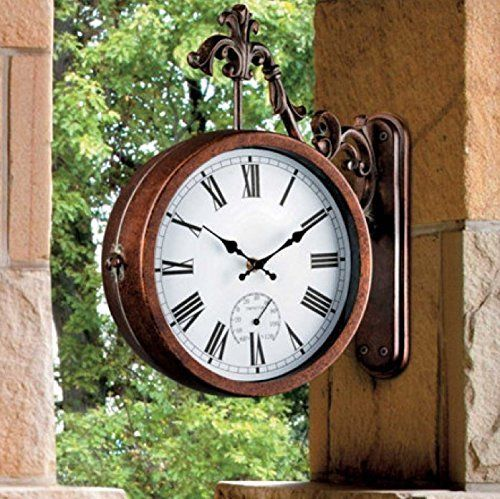 Outdoor Garden Station Clock Double Sided Decoration Thermometer Humidity Dial Garden Clocks Outdoor Clock Garden Station