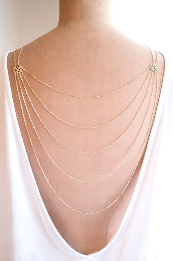b52cd9f84b0654 Romance is a delicate and elegant layered necklace which will drape  beautifully on your body. You can wear it as a normal necklace on the front  or as a back ...