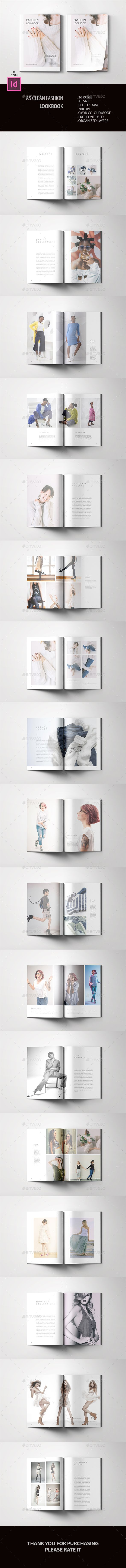a5 clean fashion lookbook design template indesign indd 36 pages