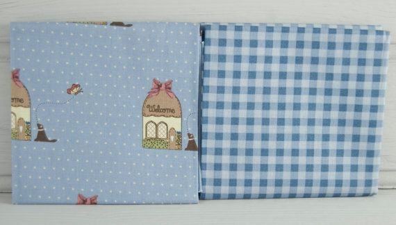 Blue Fabric Gutermann Houses and Blue Check by GreenCallowCrafts