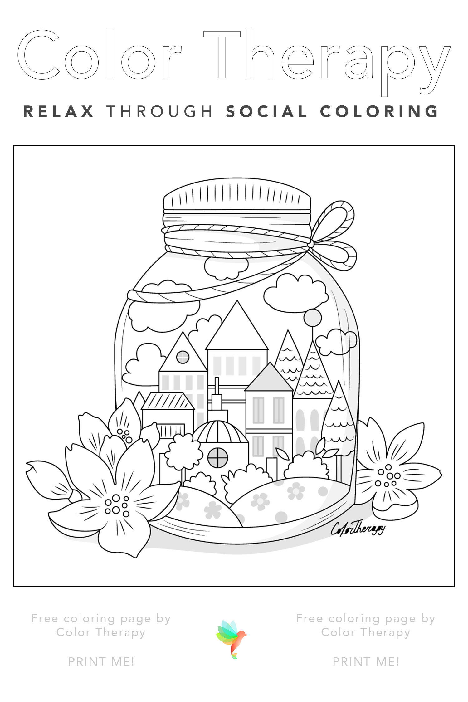 Free Coloring Page Created By Colortherapyapp A Whole Town