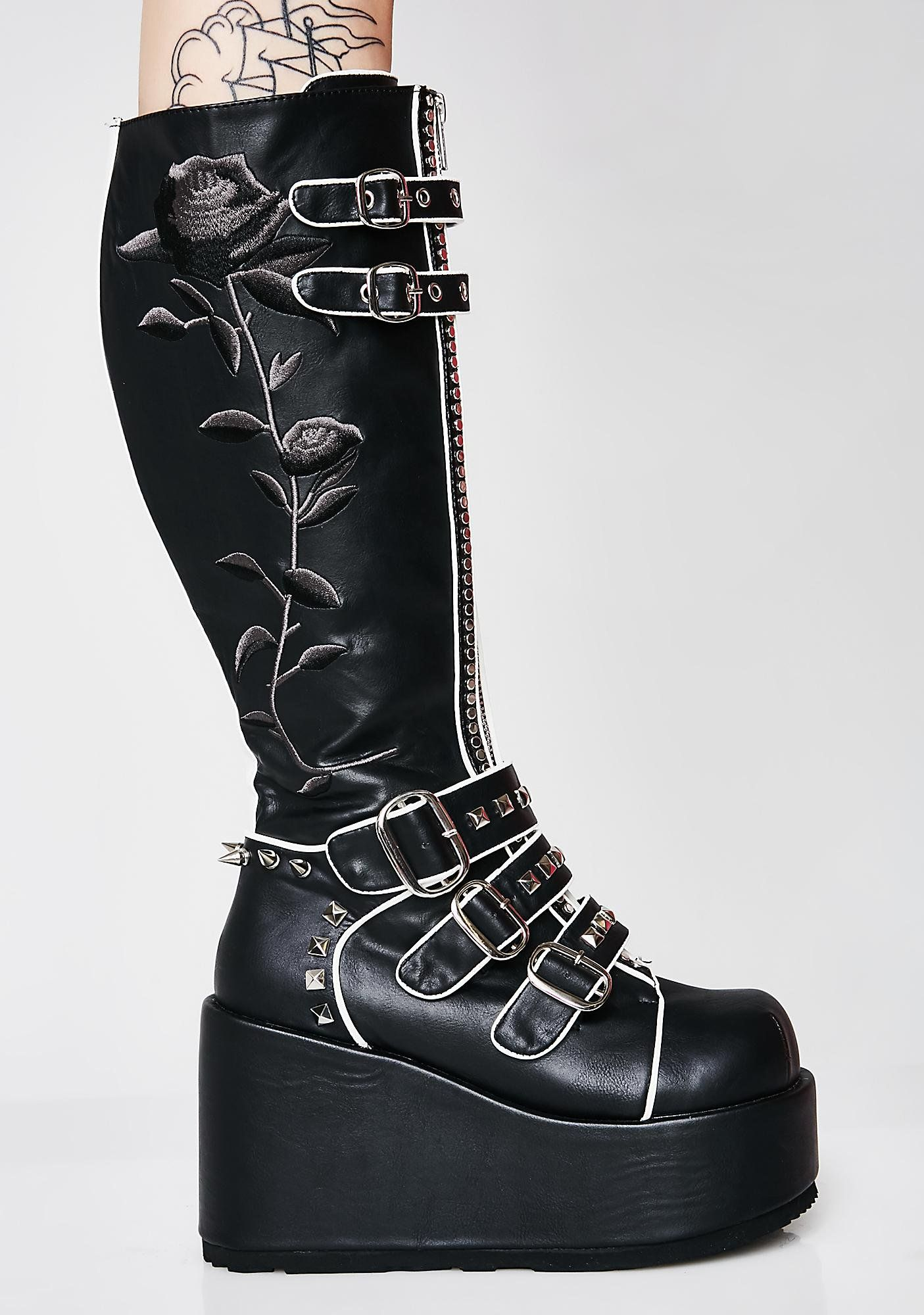 979c1e7371ed Demonia Slaytanic Platform Rose Boots cuz you re queen of the damned. Rule  over  em in these sikk platform boots that have embroidered rose