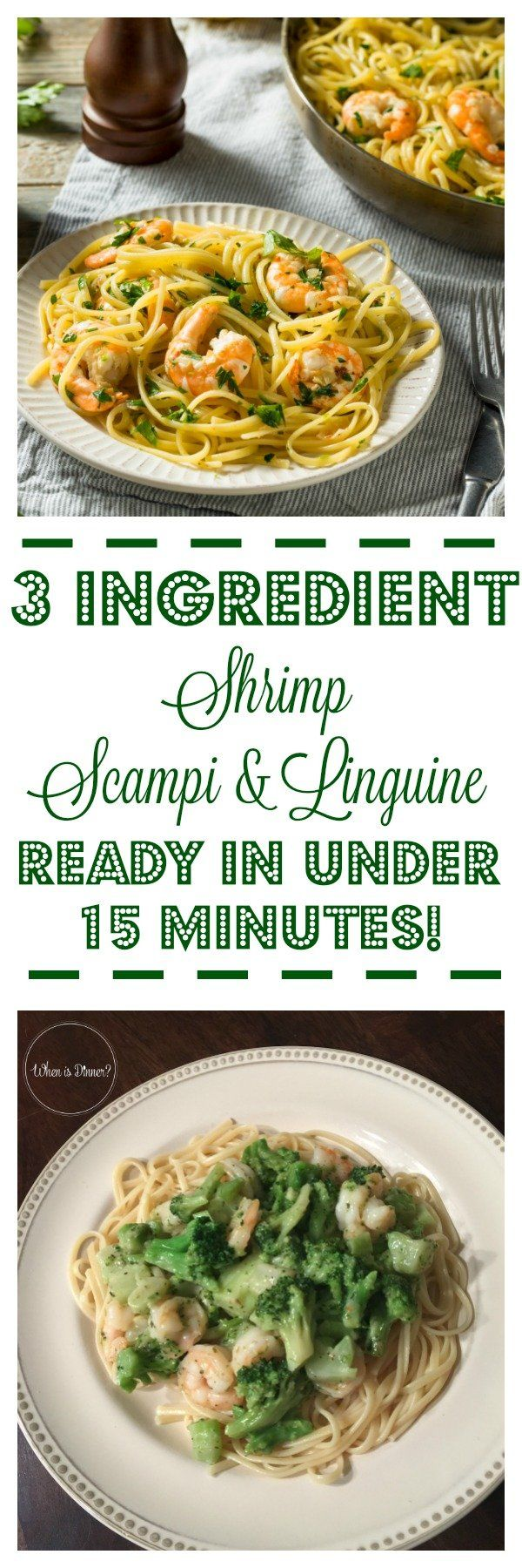 Shrimp Scampi with Broccoli and Linguine #shrimpscampi
