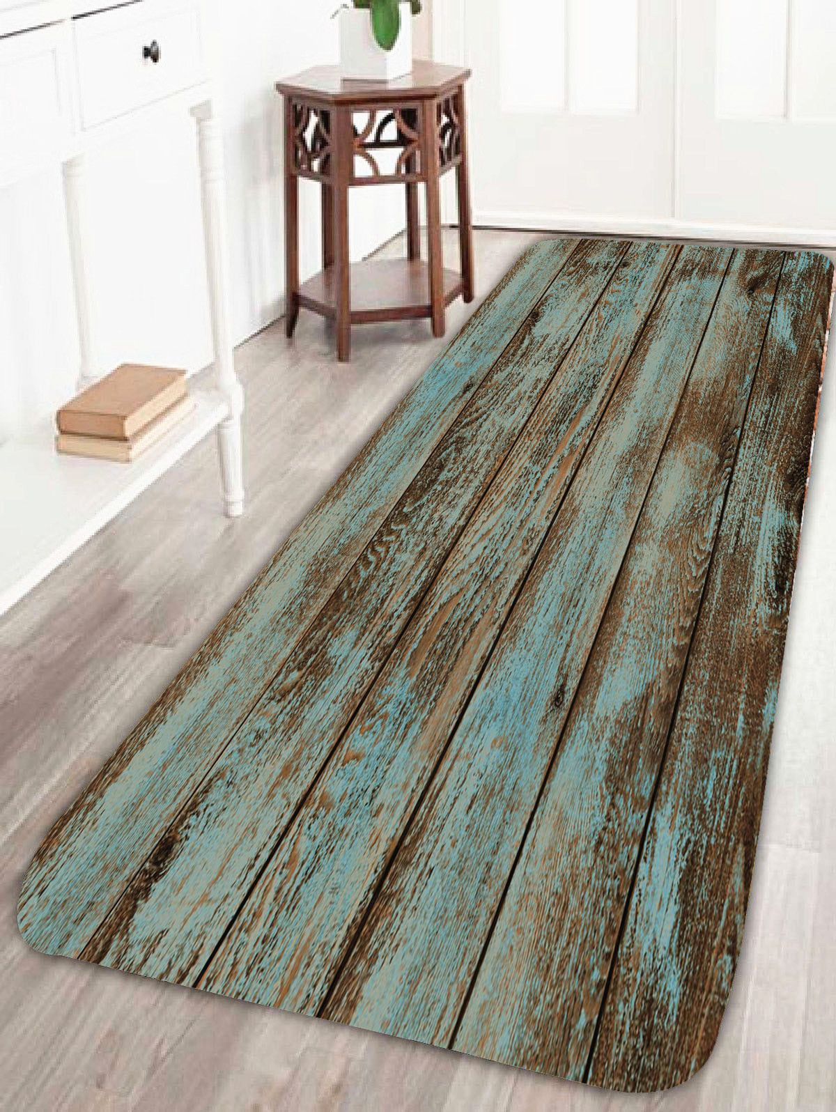Vintage Wood Grain Print Bathroom Rug Green W24 Inch