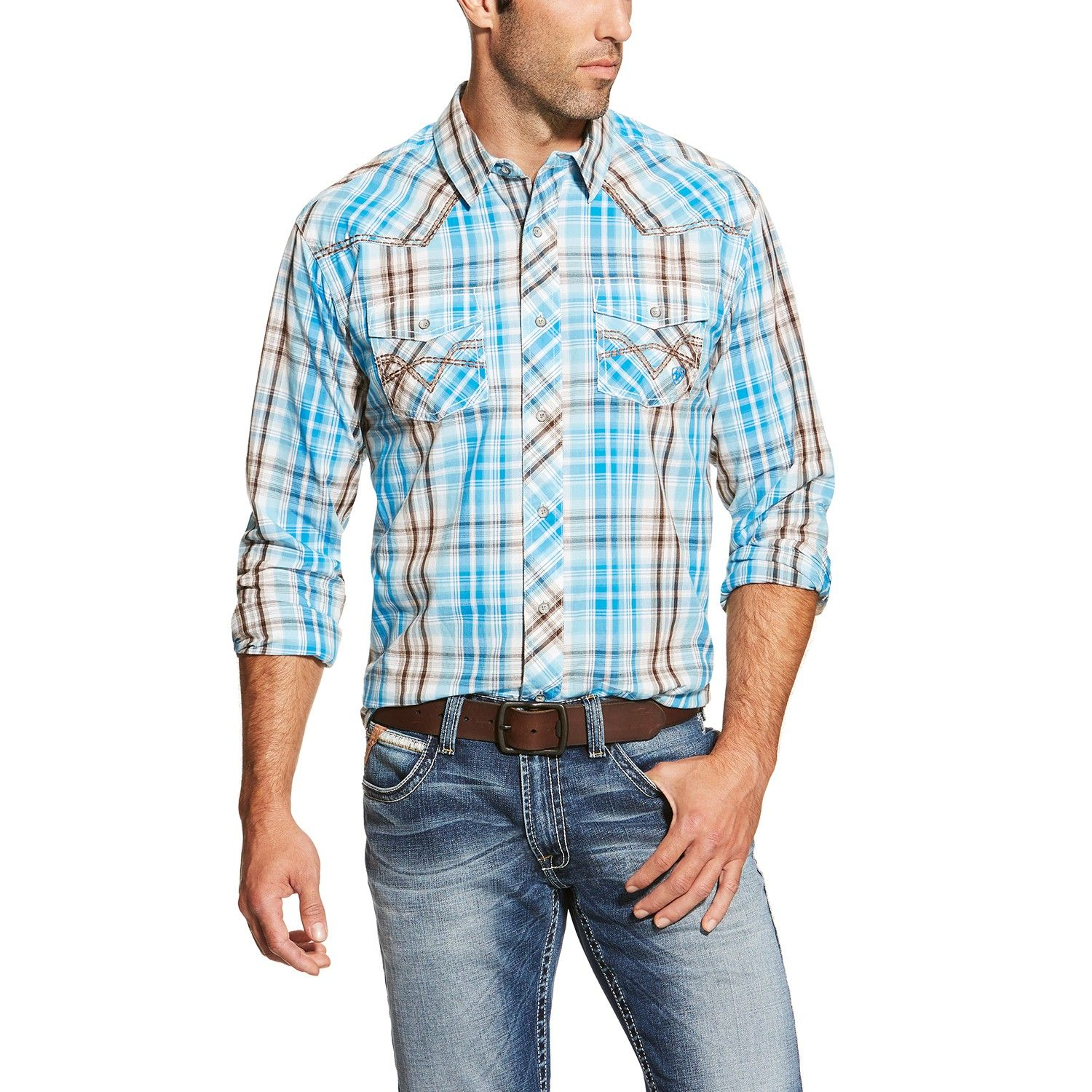 Ariat Mens Retro Plaid Button Down Shirts Teal & Brown | Clothes ...