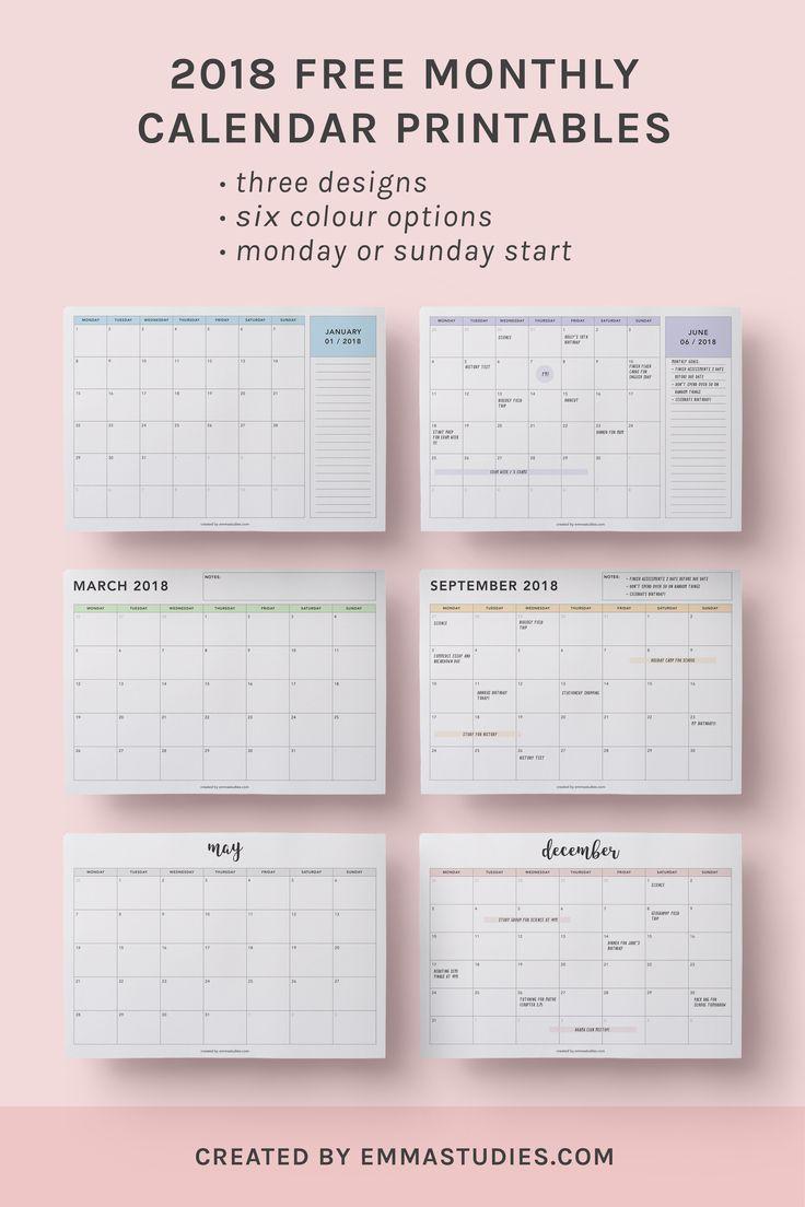 2018 monthly free printable calendars by emmastudies. Black Bedroom Furniture Sets. Home Design Ideas