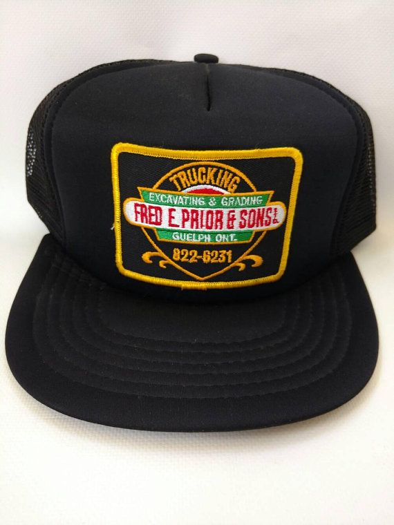 6c9bbce4d8aa3 Retro Trucker Hat Black Mesh Snapback Fred. E. Prior and Sons Trucking  Excavating and Grading Guelph