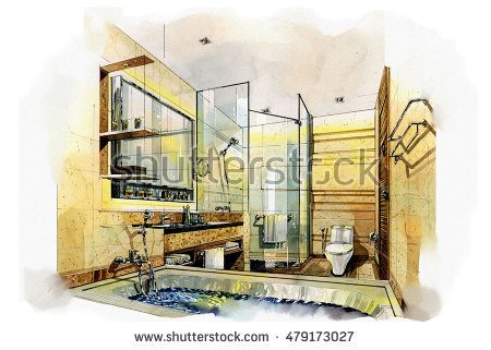 sketch perspective interior design sketches painting to watercolors