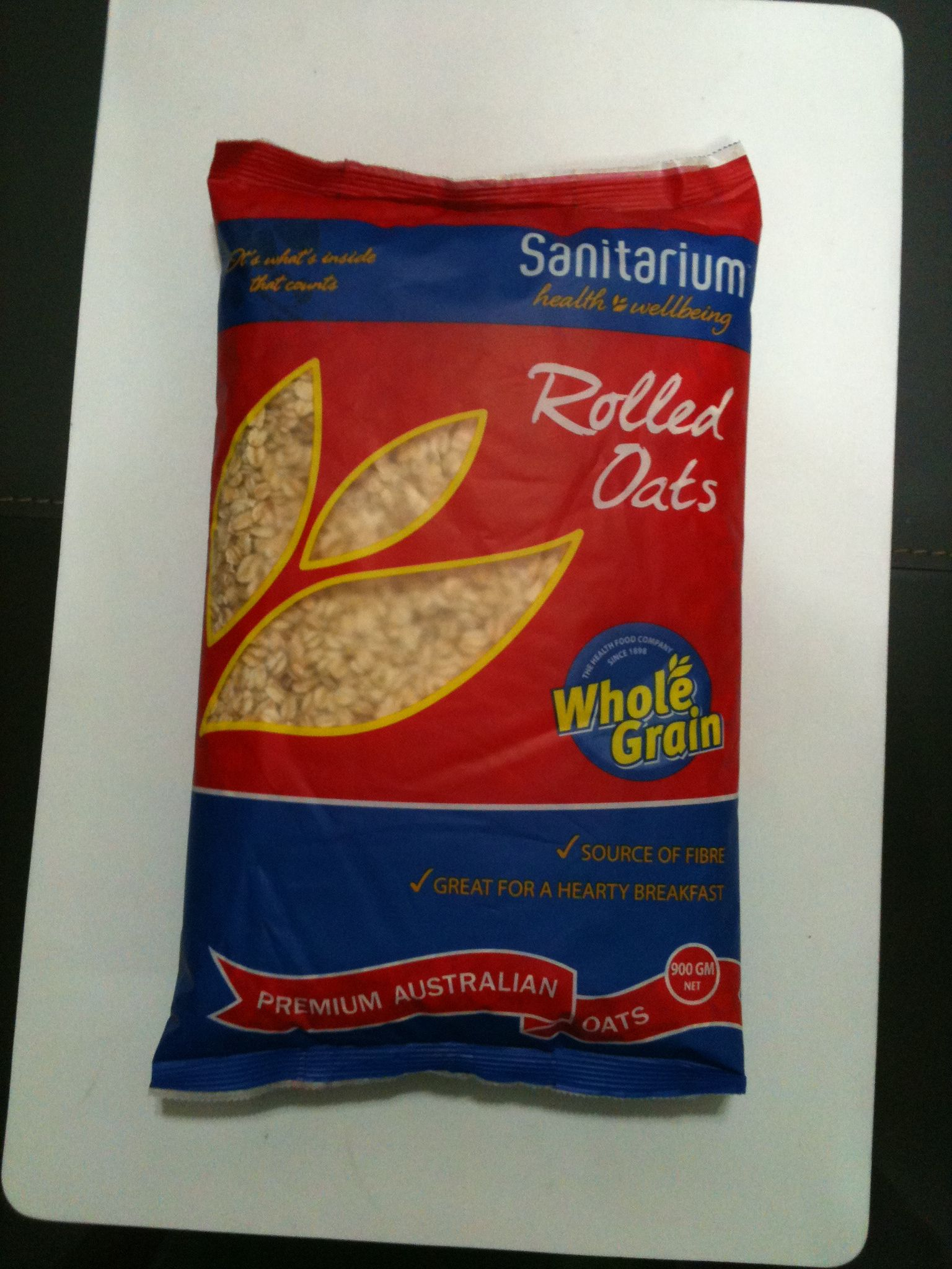Sanitarium whole grain rolled oats; RM9 for 900gm.