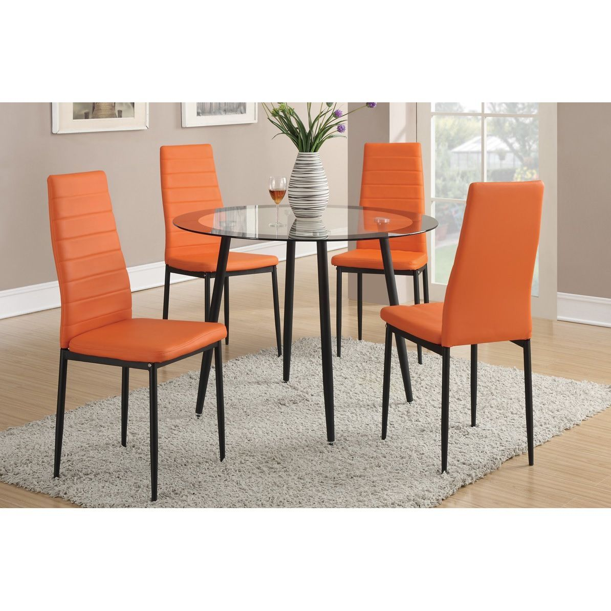 Round dining table and chairs for 4  Doral Dining Chairs Set of  Green Faux Leather  Dining chair